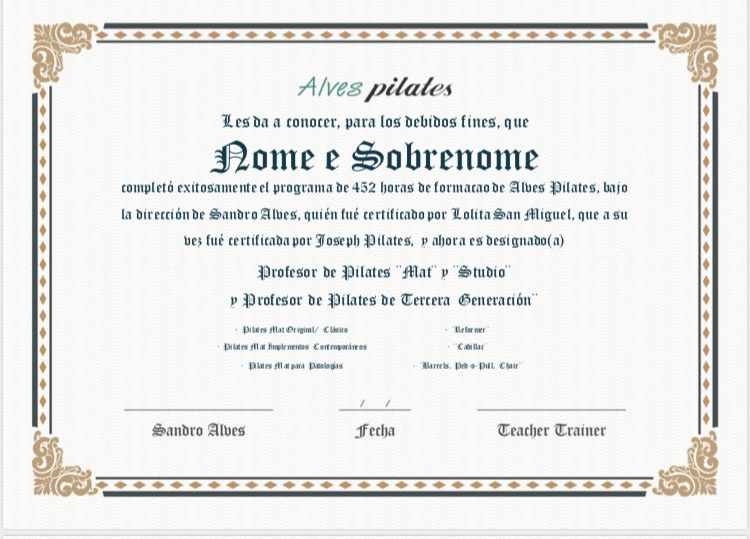 Diploma formação em pilates