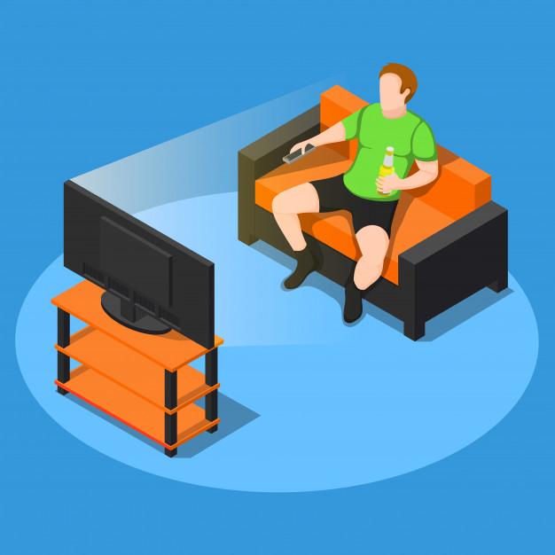 homem sedentario vendo televisão