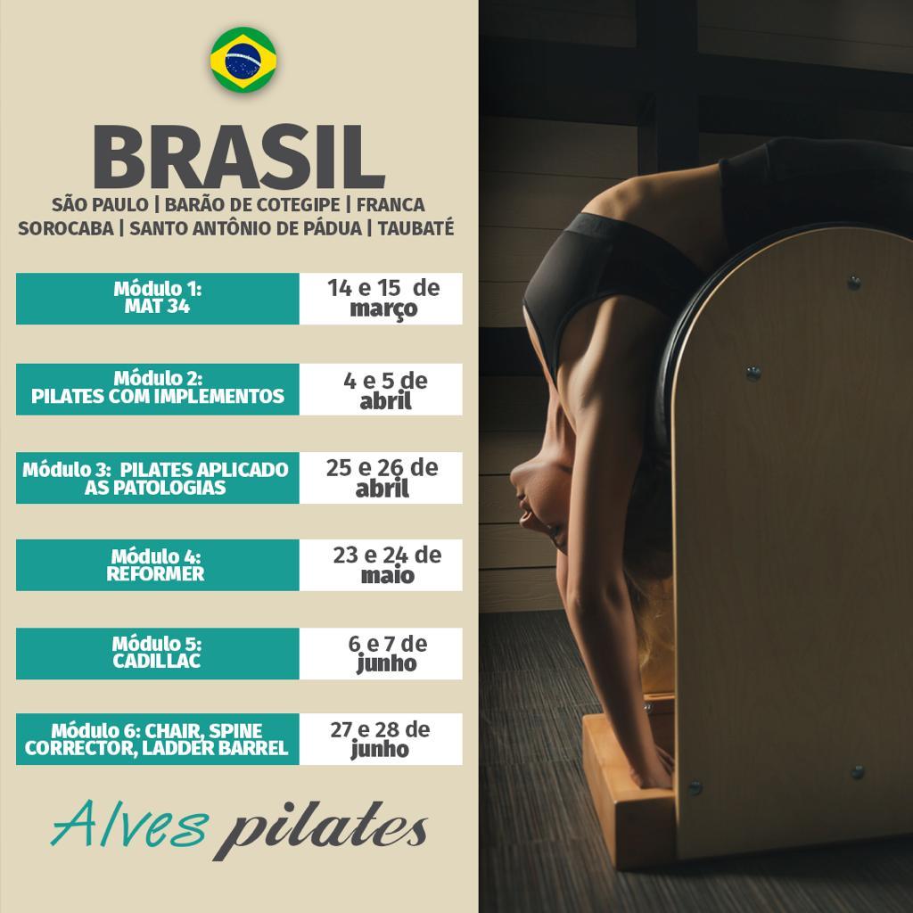 Datas de cursos Alves Pilates em Catanduva