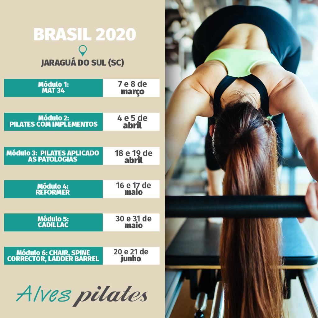 Datas do curso de pilates 2020 em Joinville
