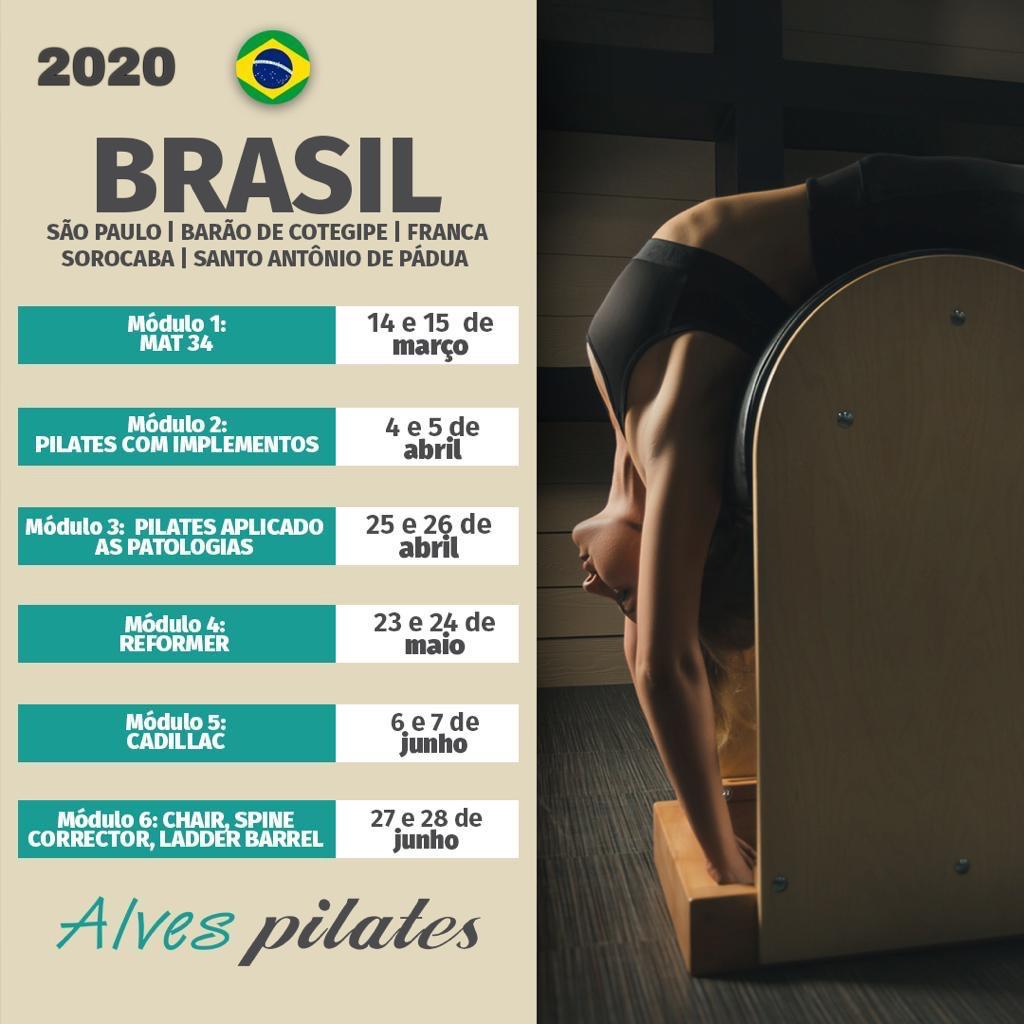 Datas de curso de pilates em Erechim e Barão de Cotegipe em 2020