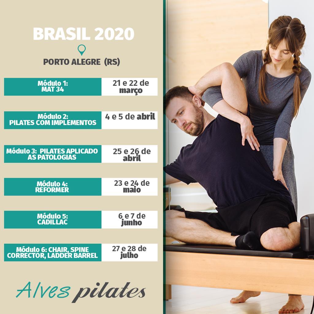 Datas de cursos Alves Pilates em Cachoeirinha