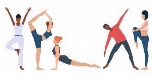 Desenho de instrutores realizando pilates