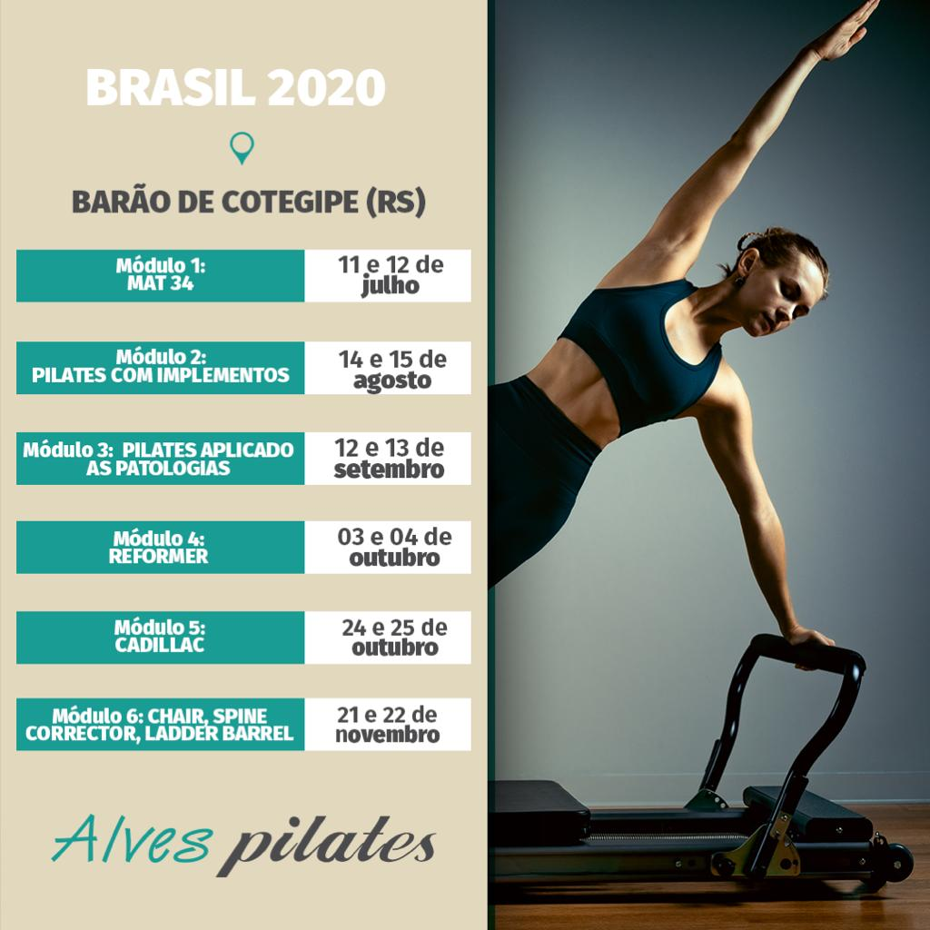 Datas de curso de pilates em Erechim e Barão de Cotegipe em 2 semestre 2020