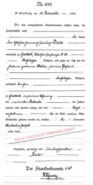certidão de nascimento de Joseph Pilates