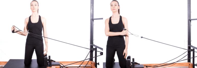 mulher realizando exercício no tower do pilates