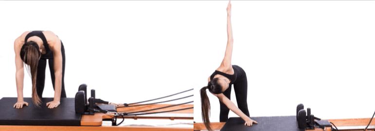 mulher realizando exercício no reformer pilates