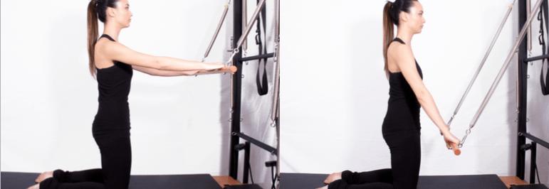 mulher realizando exercício no unit wall pilates