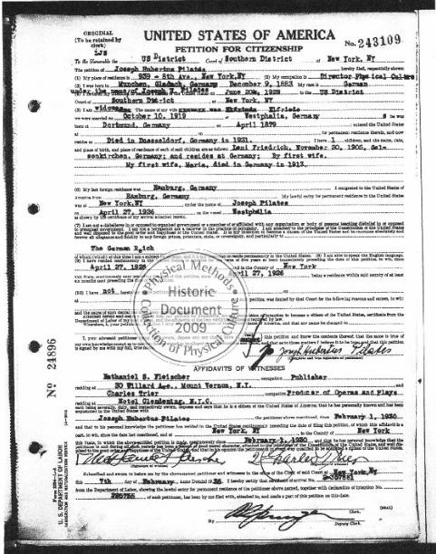 Petição de cidadania de Joseph Pilates.