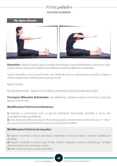 Foto de página do manual de formação em pilates da Alves Pilates com exercício spine stretch